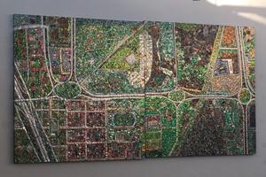 Muralismo sustentable: crean mapa de Villa Soldati con 8.000 latas